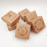 Renkli Kraft Kağıt Mücevher Kutuları Paketi Mektubu ile 6.5x6.5x3 cm Küçük Hediye Kutusu El Yapımı Sabun Düğün Şeker Jöle NHA4883