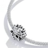 Bamoer 925 Sterling Zilveren Bloeiende Lotus Metalen Charm Fit Originele Zilveren Armband Meisjes DIY Sieraden Beads Geschenken SCC1724 1992 Q2