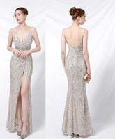 Sparkly Bling Sequined Mermaid Bridesmaid Dresses 2021 Backless Slit Plus Size Maid Of The Honor Gowns Wedding Dress