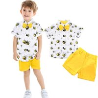 Born Baby Girl Clothes Set Summer Outfits Toddler Kids Boys Girls Bee Gentleman Bow Tie T Shirt Shorts Clothing Sets
