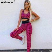 WUHAOBO 2021 Kadın Setleri Yaz Eşofmanlar Sportif Baskı Tankları Tops + Pantolon Suit İki Parçalı Set Gece Kulübü Parti Kıyafetler 2 ADET Sokak Kadınlar