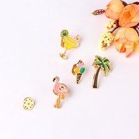 Albero di cocco Flamingo Metallo Spille in metallo Gelato Pins Pins Spiaggia Spille Spille Design Carino Modo Gioielli Accessori55 Q2