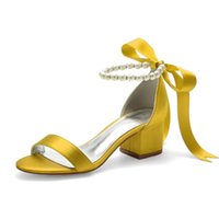 Ankle Buckle Strap Womens High Heel Shoes Satin Pearls Wedding Sandals Open Toe Prom Party Dress