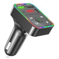 F2 자동차 블루투스 FM 송신기 키트 TF 카드 MP3 플레이어 스피커 3.1A 듀얼 USB 어댑터 무선 오디오 수신기 PD 충전기