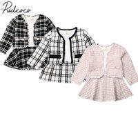Pudcoco ABD Stok 6 M-5 T 2 ADET Bebek Bahar Sonbahar Giyim Bebek Kız Pageant Ekose Ceket Tutu Elbise Parti Kıyafetleri Moda Giysileri Y0705
