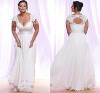Vestidos De Novia 2021 Plus Size A Line Wedding Gowns V Neck Short Sleeves Lace Appliqued Bridal Dresses Beaded Arabic Brides Marriage Robes Boho Beach Garden AL9074