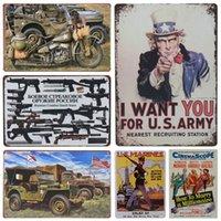Carro avião motocicleta exército arte pintura decoração vintage estanho placa placa cartaz decoração home para bar pub café metal placas de ferro