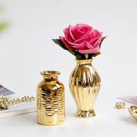 Vaso d'oro in rilievo per fiore decorazione della casa Grandi statue da tavolo Europa da tavolo da tavolo per matrimoni accessori pianta in ceramica