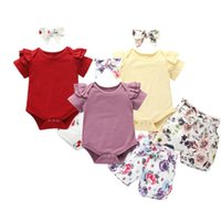 3Pcs Infant Toddler Baby Girl Clothes Ruffle Romper Bodysuit Floral Halen Pants Headband Outfits Clothing Sets