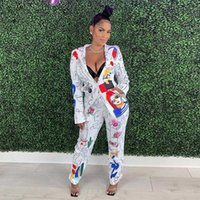 Indie Printed Blazer Suit Two Piece Set Women V-Neck Graffiti Cartoon Blazer High Waist Straight Pant Suits Casual Office Blazer H0918