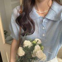 Korean Ulzzang Harajuku Sweet Shirt Lapel Chic Solid Pullovers Short Sleeve T-Shirt Women Summer Loose Knit Simple Tee 2021 Women's