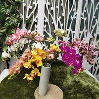 Fleurs d'orchidée en latex artificielles de cymbidium 10 têtes Touches réelles de bonne qualité Phalaenopsis orchidées pour la fleur décorative de mariage