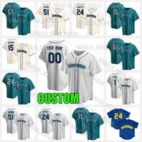 시애틀Mariners Baseball Jersey 24 Ken Griffey Jr. 15 Kyle Seager 34 Felix Hernandez Lewis 51 Ichiro Suzuki Edgar Martinez 2 Tom Murphy