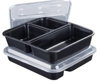 3 Or 4 Compartment Reusable Plastic Food Storage Containers With Lids Disposable Take Out Containers Lunch Box Microwavable Supplies DDA5376