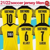 # 9 Haaland # 10 Hazard Dort Home Soccer Jerseys 21/22 # 11 Reus # 7 Sancho Camisas 2021/2022 Manga Curta # 19 Brandt Homens Adultos Uniformes de Futebol