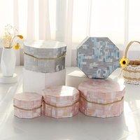 팔각형 선물 상자 종이 가방 선물 웨딩 플라워 캔디 포장 용품 생일 파티 장식 도매 랩