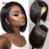 Lace Wigs Straight Short Bob 4×4 Closure Human Hair 180 Density Malaysian For Black Women Pre Plucked Hairline