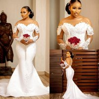 Plus Size Satin Mermaid Wedding Dresses Beaded Crystals Lace Appliqued Long Sleeve Bridal Gowns Robe de mariée
