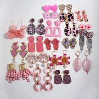 Yattong flatfoosie Trendy New Pink Resina Nappa Orecchini a goccia per le donne Ragazza Gioielli da sposa 32 Design Descorazioni pendenti in cristallo