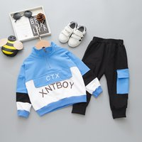 New Spring Autumn Children Fashion Clothes Baby Boys Girls Letter Patchwork T Shirt Pants 2Pcs sets Kids Toddler Tracksuit 201023 760 Y2