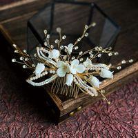 Bridal Headdress Handmade Rhinestone Insert Comb Ceramic Flower Hair Adult Accessories Wedding Plate Styling Clips & Barrettes
