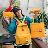 Backpack Large Capacity 4 PCS SET Canvas Student Cute Graceful Portable Rucksack Shoulder Bag Coin Purse Children Pencil Case