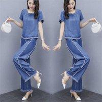 Tracksuit en deux pièces pour Femmes 2021 Summer Womens Loose Grand Taille Crop Tops + Denim Pantalon costume Ensembles de mode Femelle Plus