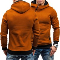 Solid color hooded oblique zipper spring autumn wear sports leisure youth trend men's sweater and cashmere cardigan B3WT{category}