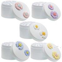 4 capas Alloy Alloy Lavable Hierba Tabacco Grinder con recubrimiento de cerámica Flor de margarita Durable Fumar Accesorios EWF6681