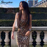 SERYTEE Spaghetti Strap Leopard Sexy Kleid Frauen 2021 Sommer Backless Bodycon Midi Kleider Vintatge Party Damen Vestidos