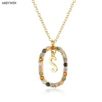 ANDYWEN 925 Sterling Silver Gold Alphabet S T N Letter I L O V E Y U Pendant Initial Chain Necklace Fine Jewels 210608