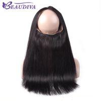 Beaudiva Hair 360 전체 레이스 정면 8A 버빈 페루 셰인 스트레이트 헤어 360 레이스 정면 클로저 10-20inch 무료 파트 100 % 인간의 머리카락 도매