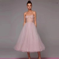 Party Dresses Weiyin AE0776 A Line Dusty Pink Lavender Navy Blue Tulle Prom Short Sweetheart Sheer Boning Tea Length Formal Gown D7CI