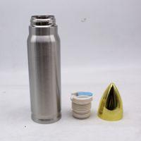 Temos in acciaio inox 17oz 500ml Forma di proiettile Bottiglia di acqua potabile Bicchiere da bere Tumbler 0.5L Aspirapolvere Aspirato Sport Sports Cup