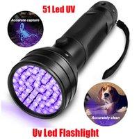 UV LED Lâmpada de Lanterna Ultravioleta 51 LEDs 395nm Ultra Violeta Tocha Luz Detector de Luz Blacklight para Cão Urina Pet Manchas e Cama Bug Escorpião Fluorescente 510led