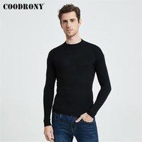 Coodrony Осень зима Классический повседневный чистый цвет мягкий теплый вязаный ватную шерсть водолазки свитер пуловер мужская одежда C1162 210809