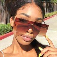 Gafas de sol Trendy Big-Frame Plaza de una sola pieza Personalidad de una sola pieza Midin Brown Glasses de damas de alta gama UV400