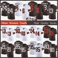 "Hommes Femmes Youth 13 Odell Beckham Jr 6 Baker Mayfield Football Jerseys 24 Nick Chubb Cleveland ""Browns"" Myles Garrett 21 Denzel Ward 80 Jarvis Landry Retro Jersey"