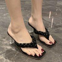 Terlik Lucyever Yaz Kadın Woove Katı Renk Kare Ayak Şeffaf Topuk Çevirme Kadın Yüksek Topuklu Sandalet Slaytlar 1n5j
