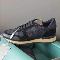 Echte Rockrunner Desginer Sneakers Herren Schuhe 38 Rivet Rivet Runner Box Leder Sport Stud Trainer Casual Camouflage mit Geschenkfarbe PSTIH