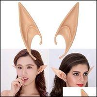 Suministros festivos Home Garden Masks Top-1 par PVC Fairy Pixie Fake Elf Party Mask Mascarilla Decoración de Halloween suave PROTHEIC EARS
