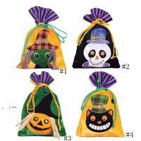 Bolso de lazo de Halloween Tela no tejida Bolsos portátiles Ghost Pumpkin Cráneo Festival Festival Decoración de fiesta Bolso de regalo de caramelo OWB10429