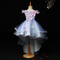 Light Blue Tulle Princess Ball Gowns Wedding Tutu Dress for Girl Beading Appliques Party Flower Girl Dresses Trailing Prom Gowns Q0716