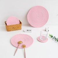 Cucina Corda di cotone fatti a mano Placemat Placemat Tessuto tablet Table Tableware Tableware Tazza Isolamento Pad Dinner Home Decor OWB10025