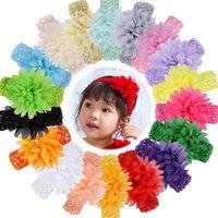 Bebek Kız Çiçek Bantlar Şifon Yumuşak Streç Hairbands Yenidoğan Bebek Bebek Bantları Çocuklar Saç Aksesuarları Headwraps KIMER-W56F