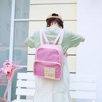 Double épaule mignonne coréenne mode sac à dos transparent simple gelée ita sac jk cosplay bookbag style