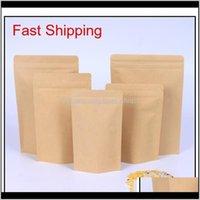 Storage Bags 1000Pcs Zipper Brown Aluminizing Pouchstand Up Kraft Paper Aluminium Foil Bag Resealable Zip Lock Grip Seal Foo Qylqgk Yl 9Fy4V