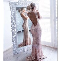 Bridesmaid Dress Luxury Shiny Rose Pink Sexy Long Evening Dresses Sleeveless Sequined Mermaid Prom Backless Wedding Party Formal Gown