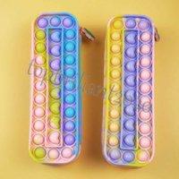 Rainbow per bambini Push Bubble Silicone Grande Capacità Storage Storage Cancelleria Box Toys Pioneer Sensory Fidget DECOMPRESSION Student's Pencil-Case