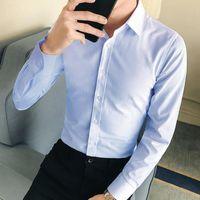Men's Tracksuits 2021 Business Men Suit Set Lapel Formal Summer Long Sleeve Buttons Shirt Skin-friendly Turndown Collar Shirts For Office